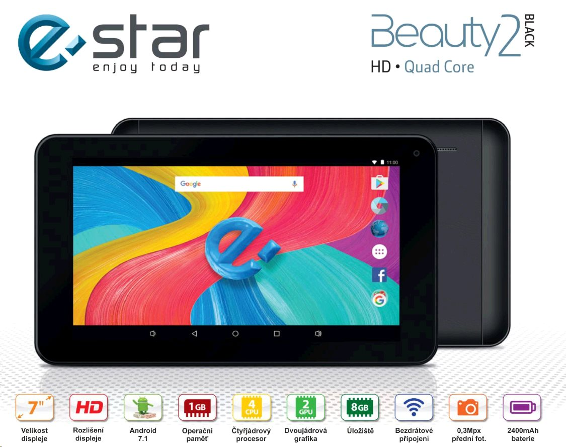 "eSTAR Beauty 2 HD 7"" MID7388 WiFi 1+8GB Android 7.1 Black"